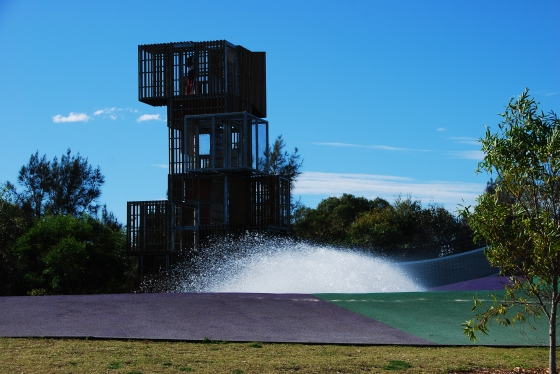 Blaxland Riverside Park - Climbing tower behind the water play area